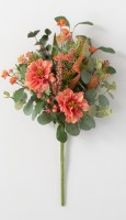 "19"" Faux Coral Dahlia and Berry Bush"