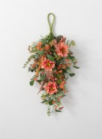 "26"" Faux Coral Dahlia and Berry Drop Wall Swag"