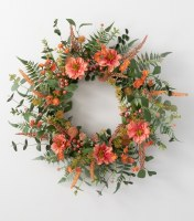 "25"" Faux Coral Dahlia and Berry Wall Wreath"