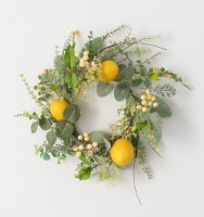 "6.5"" Opening Faux Herb and Lemon Candle Ring"