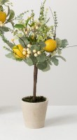 """19"""" Faux Herb and Lemon Topiary in Cream Pot"""