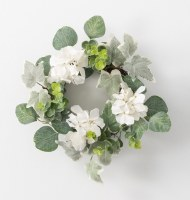 "4.5"" Opening Faux Hydrangea and Foliage Candle Ring"