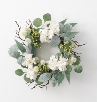 "6.5"" Opening Faux Hydrangea and Foliage Candle Ring"