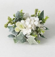 "6"" Faux Hydrangea and Foliage Half Orb"