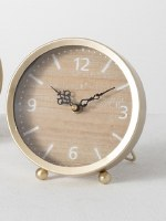 "7"" Beige Wood and Gold Desk Clock"