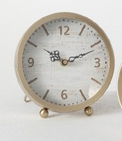 "7"" White Wood and Gold Desk Clock"
