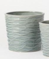 """6"""" Round Blue Wave Textured Pot"""