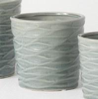"""5"""" Round Blue Wave Textured Pot"""