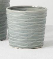 """4"""" Round Blue Wave Textured Pot"""