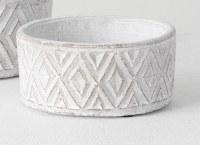 "6"" Round Antique White Cement Diamond Pot"