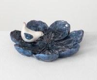 "10"" Round Blue Flower With Bird Accessory Dish"