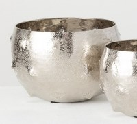 """6"""" Round Silver Dimpled Metal Pot"""