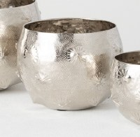 """5"""" Round Silver Dimpled Metal Pot"""