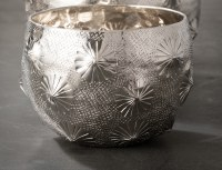 "4"" Round Silver Dimpled Metal Pot"