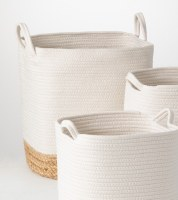 """19"""" White With Natural Bottom Water Hyacinth Roped Basket"""