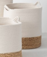 """15"""" White With Natural Bottom Water Hyacinth Roped Basket"""