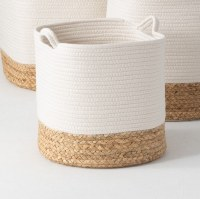 """13"""" White With Natural Bottom Water Hyacinth Roped Basket"""