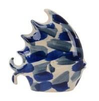 "10"" Light Blue and Dark Blue Brushed Ceramic Fish Figurine"