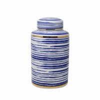"""12"""" Blue, White and Gold Striped Ceramic Jar With Lid"""