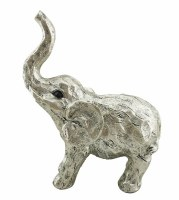 "11"" Silver Polyresin Elephant Figurine"
