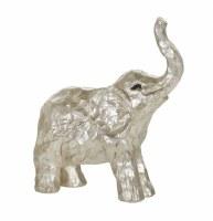 "8"" Silver Polyresin Elephant Figurine"