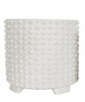 """10"""" White Ceramic Dotted Pot With Feet"""