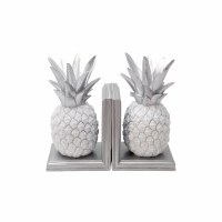 """10"""" Silver and White Polyresin Pineapple Bookends"""