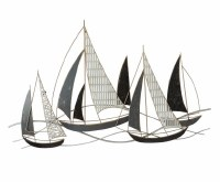 """36"""" Gray, White and Gold Sailboats Metal Wall Plaque"""