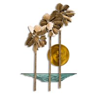 """43"""" Multicolor Metal Pacifica Palms Beach Wall Plaque MM139"""