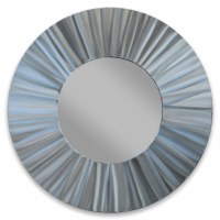 "28"" Round Silver Radiant Metal Wall Mirror MM805"