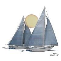 "27"" Sunset Sailboats Plaque"