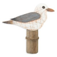 """11"""" Single Seagull On Piling Wood Plaque"""