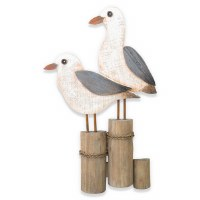 """17"""" Double Seagull On Piling Wood Plaque"""