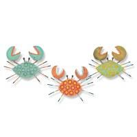 "Set of Three 6"" Multicolor Driftwood Crab Plaques"