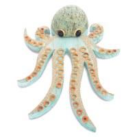 """16"""" Orange and Turquoise Coconut Octopus Plaque"""