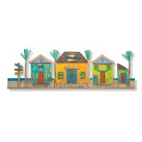 """43"""" Multicolor Driftwood Tropical Village Plaque"""
