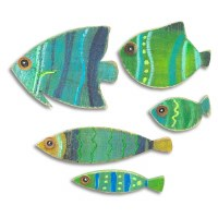 Set of Five Blue and Green Wooden Fish Plaques