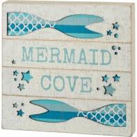 "12"" Square Mermaid Cove Wood Slat Box Plaque"