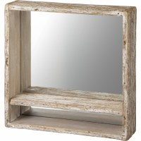 "13"" Square Weathered Wood Mirror With Shelf"