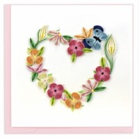 """6"""" Square Quilling Floral Heart Wreath Greeting Card"""
