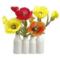 "10"" Faux Multicolor Poppies in White Ceramic Bottle Vases"
