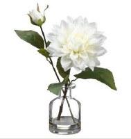 "11"" Faux White Dahlia in Glass Vase"
