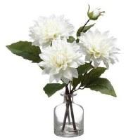 "14"" Faux Triple White Dahlia in Glass Vase"