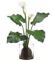 "31"" Faux White Calla Lily Plant in Glass Vase"