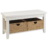 """38"""" White Pawleys Island Bench With Sandpiper Beach Painted Top and Baskets"""