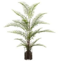 "29"" Faux Green Sword Fern in Round Glass Vase"