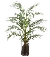 "32"" Faux Green Areca Palm in Round Glass Vase"
