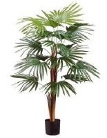 """36"""" Faux Green Fan Palm Tree in Black Pot"""