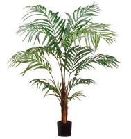 "48"" Faux Green Areca Palm Tree in Black Pot"