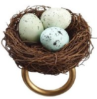 "4"" Blue Triple Egg Bird's Nest Napkin Ring"
